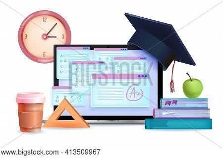 Online Exam, Digital Test, Internet Poll Education 3d Concept, Laptop Screen, Graduation Cap, Books,