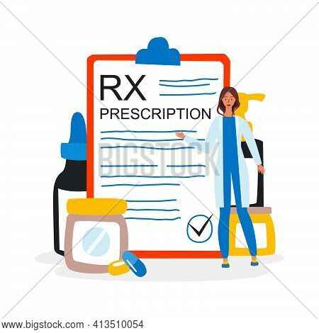 A Flat Vector Illustration Of The Rx Medical Prescription Drug And A Female Doctor Who Shows It. The