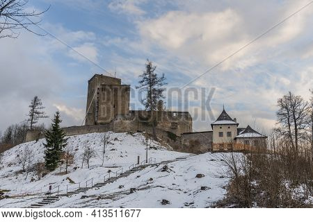 Landstejn Castle In Winter Snowy Evening With Nobody Because Virus