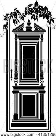 Antique Door, Entwined With Ivy, Black Vector Stencil