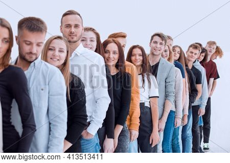 group of diverse young people standing in line