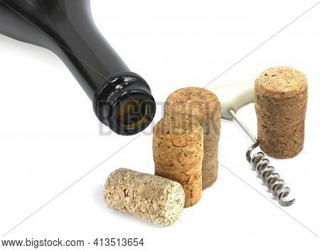 Wine Bottle, Wine  Corkscrew And Wine Corks As Wine Still Life Isolated On White Background Close Up