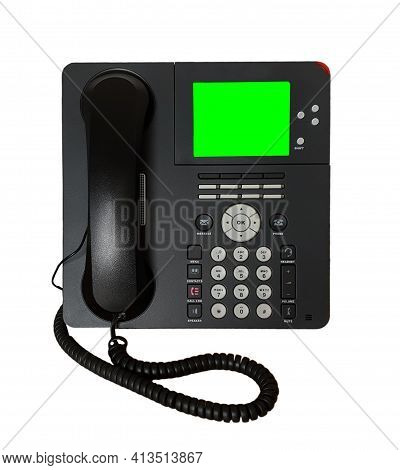 Modern Office Black Multi-button Ip Desk Telephone Isolated Over White Background With Copy Space Bl
