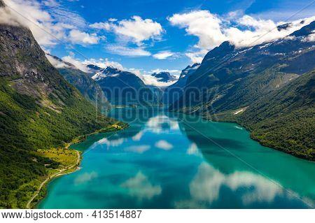 Beautiful Nature Norway natural landscape. lovatnet lake Lodal valley.