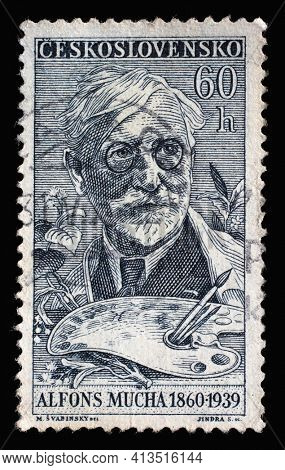 ZAGREB, CROATIA - SEPTEMBER 18, 2014: Stamp printed in Czechoslovakia shows a portrait of Alfons Maria Mucha (1860-1939), painter, Stamp Day series, circa 1960
