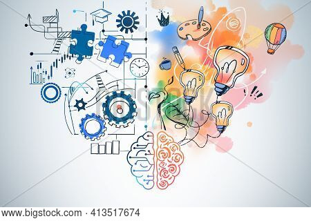 Brain Drawing With Creative And Analytical Thinking Icons On Blue Background. Different Types Of Min