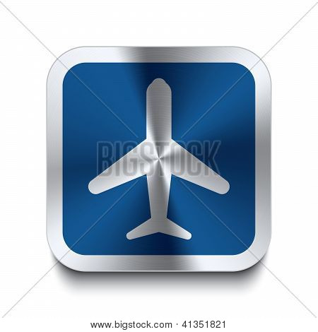 Square Metal Button - Blue Airplane Icon
