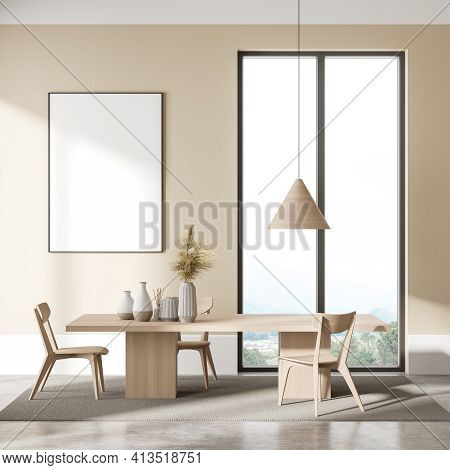 Modern Dining Room Interior With Wooden Table, Three Chair, Empty White Poster On Beige Wall, Panora