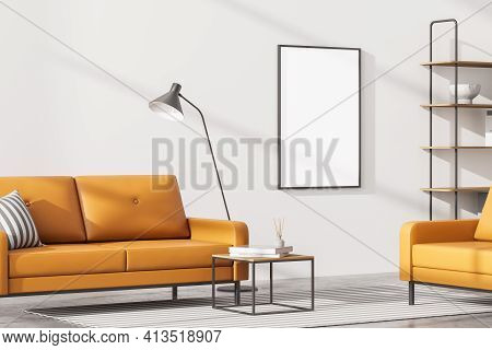 Modern Living Room Interior With One Empty Poster On White Wall, Mock Up. Furnished By Yellow Sofa A
