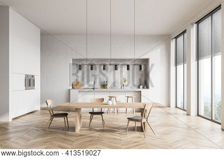 Modern Contemporary Design Kitchen Room Interior. Dining Table With Chairs. Panoramic Windows. White
