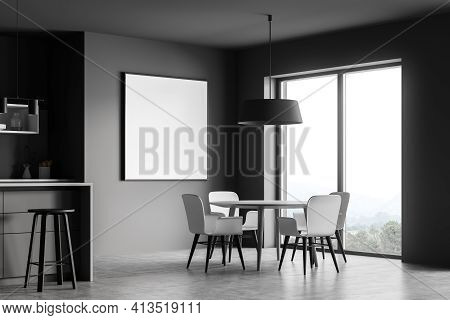 Grey Kitchen Room With Table And White Chairs, Side View, Near Window On Grey Floor. Kitchen Set Int