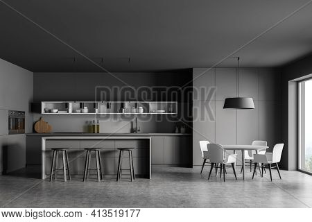 Grey Kitchen Room With Dining Table And Bar Chairs, Grey Concrete Floor. Kitchen Set Interior With W