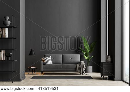 Dark Living Room Interior With Black Empty Wall, Panoramic Window, Comfortable Sofa And Cosy Modern