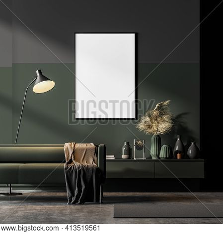 Dark Contemporary Waiting Room Interior With Green Couch And Sideboard On Concrete Floor And Framed