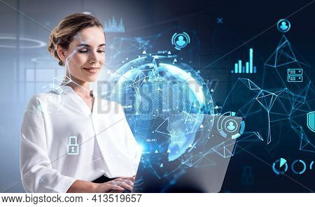 Young Office Woman With Laptop, Double Exposure With Office Room And Earth Globe Hologram. Internati