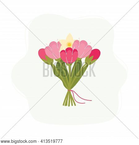 Bunch Of Spring Flowers Flat Vector Illustration.