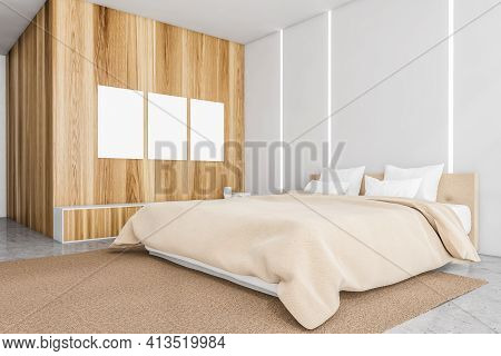 Blank Canvas Posters In Wooden Bedroom Interior With Furniture On Concrete Floor, Side View. Backlig