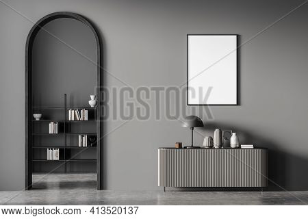 Modern Dark Colors Living Room Interior With Arch And Blank Framed Poster On Grey Wall. Chest Of Dra