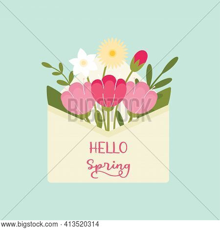 Spring Flowers Poking Through The Envelope Flat Vector Illustration. Hello Spring Concept.