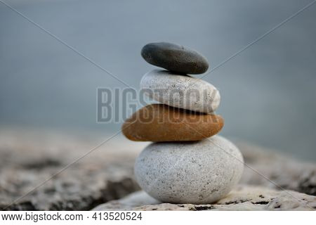 Stone Cairn On Striped Grey White Background, Five Stones Tower, Simple Poise Stones, Simplicity Har