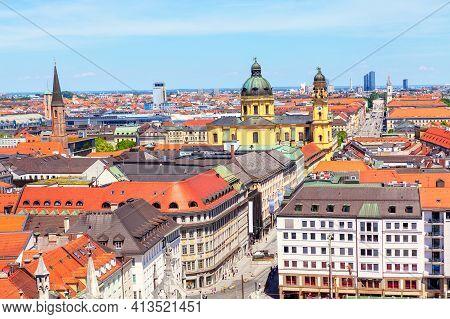 Munich Downtown Panorama . Aerial View Of Theatine Church And Odeonsplatz In Munich Germany