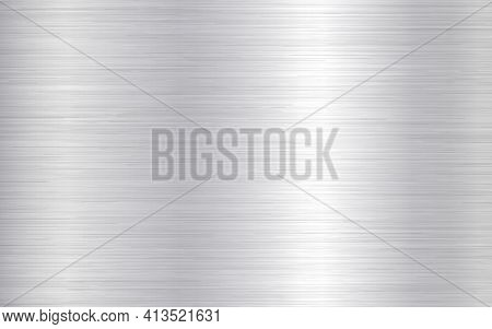 Metal Background. Silver Steel Texture. Brushed Stainless Sheet. Bright Polish Plate With Reflection
