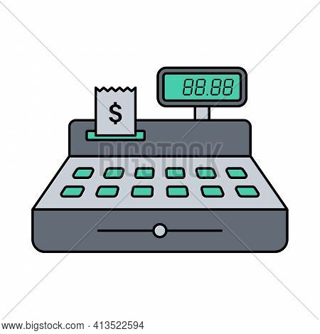 Cash Register Color Flat Illustration With Stroke Isolated On White Background. Cash Register With P