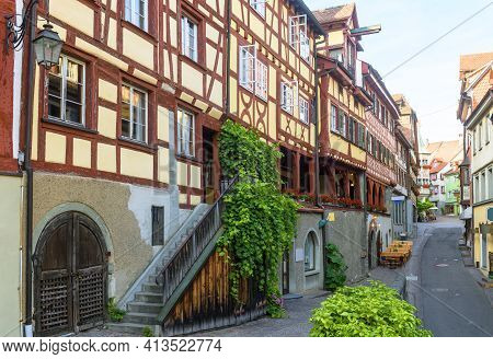Meersburg City In Baden-wurttemberg, Germany, Europe. Panorama Of Street And German Half-timbered Ho