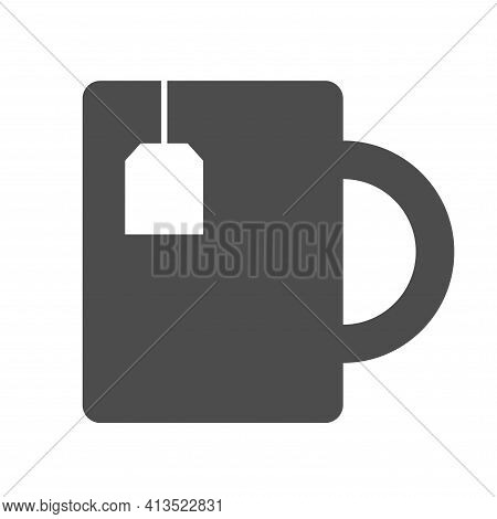 Tea Cup Silhouette Vector Icon Isolated On White. Tea Cup Icon For Web, Mobile Apps, Ui Design And P