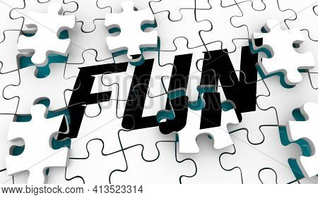 Fun and Games Puzzle Pieces Enjoyment Entertainment Relax 3d Illustration