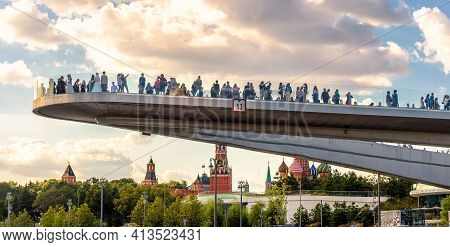 Moscow - Aug 21, 2020: Panoramic View Pf Floating Bridge In Zaryadye Park Near Moscow Kremlin, Russi