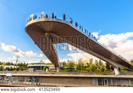 Moscow - Aug 21, 2020: Floating Bridge Above Moskva River In Zaryadye Park, Moscow, Russia. Zaryadye