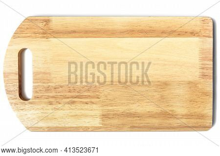 Wooden Cut Board Isolated On White Background, Top View Of New Cutting Board Made From Glued Planks.