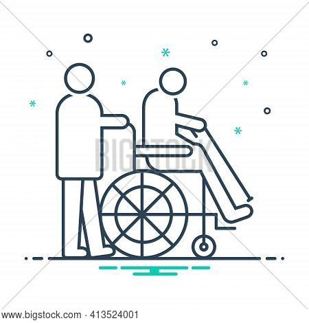 Mix Icon For Geriatrics Therapy Wheelchair Handicapped Physiotherapist