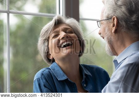 Joyful Retired Husband Make Beloved Aged Wife Cry With Laughter