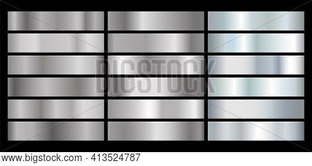 Metal Silver Gradient. Gray Shiny Aluminum Shapes. Vector Chrome Plate Button
