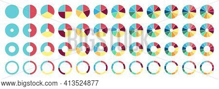 Circle Pie Chart. 2, 3, 4, 5, 6, 7, 8, 9, 10, 11, 12 Sections Or Steps. Flat Process Cycle. Progress