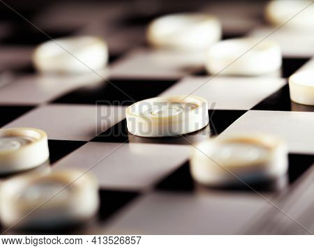 Checkerboard With Checkers. Business Strategy Competition, Strategic Planning For Winning Success. H