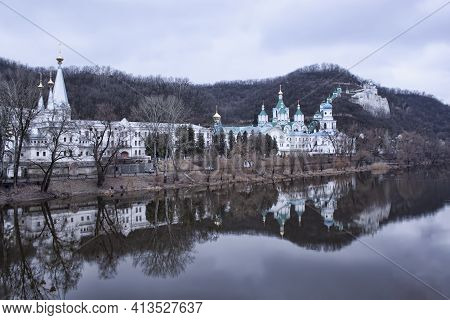 Church Svyatohirsk Lavra Over The River Siversky Donets In Early Spring. There Is No Ice On The Rive