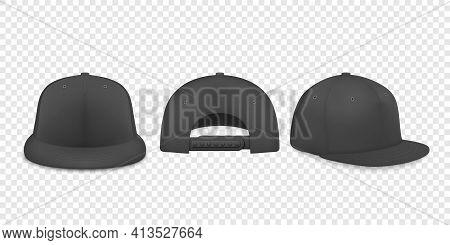 Vector 3d Realistic Black Blank Baseball Cap, Snapback Cap Icon Set Closeup Isolated On Transparent