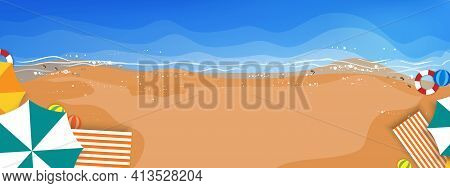Top View Of Cartoon Abstract Waves On Blue Ocean,sand Beach, Seashells With Umbrellas, Swim Ring, Be