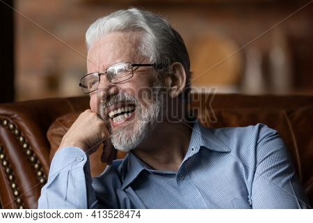 Mature Man Sit On Sofa Laugh Demonstrate Healthy Straight Teeth