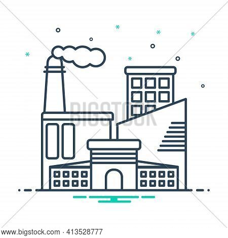 Mix Icon For Industrial Manufacturing   Factory  Technology Manufacture