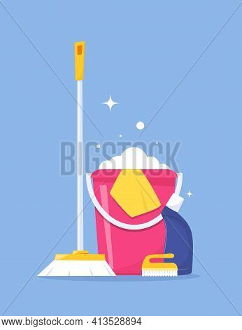 Cleaning Service And Household Supplies. Design Concept For Web Banner, Infographic, Poster. Deterge