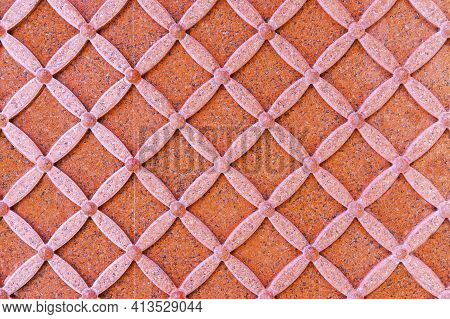 Wall Decoration With Marble Carving. Part Of Decorative Wall With Ornamental Symmetrical Arabesque M