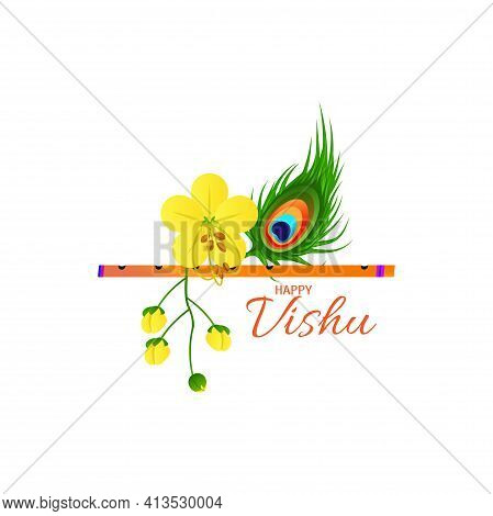 Illustration Of Happy Vishu. Worship Of Krishna