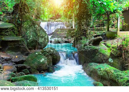 Beautiful Deep Forest Waterfall In Thailand. Deep Rain Forest Jungle Waterfall At Erawan Waterfall N