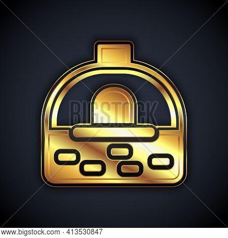 Gold Brick Stove Icon Isolated On Black Background. Brick Fireplace, Masonry Stove, Stone Oven Icon.
