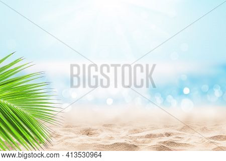 Coconut Palm Leaf Against Blue Sky And Beautiful Beach In Punta Cana, Dominican Republic. Vacation H