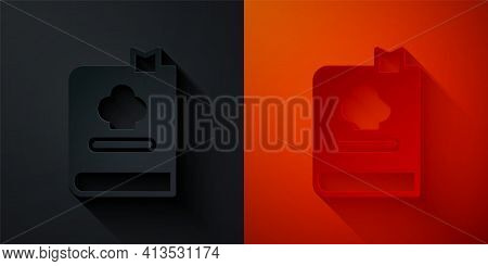 Paper Cut Cookbook Icon Isolated On Black And Red Background. Cooking Book Icon. Recipe Book. Fork A